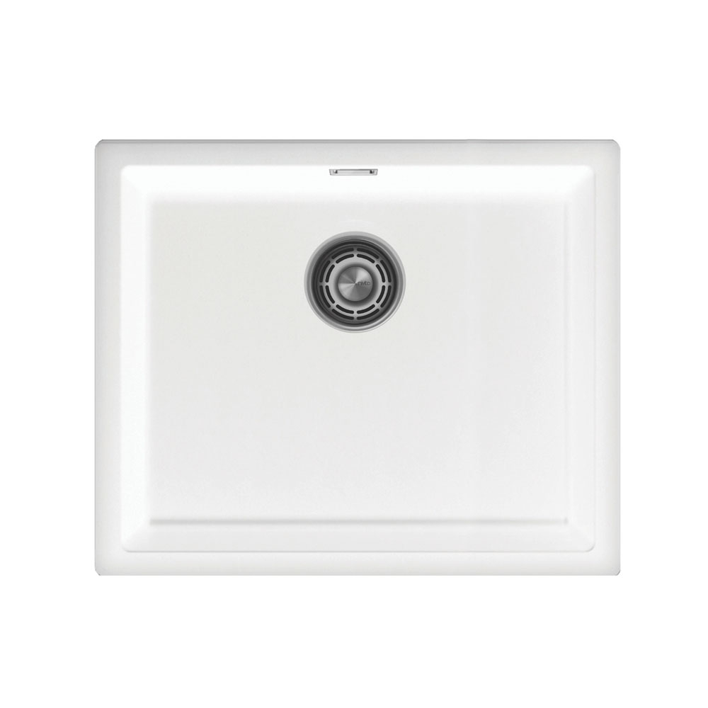أبيض حوض المطبخ - Nivito CU-500-GR-WH Brushed Steel Strainer ∕ Waste Kit Color