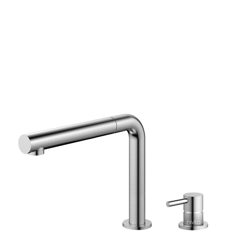 Stainless Steel Kitchen Sink Mixer Tap Pullout hose / Seperated Body/Pipe - Nivito RH-600-VI