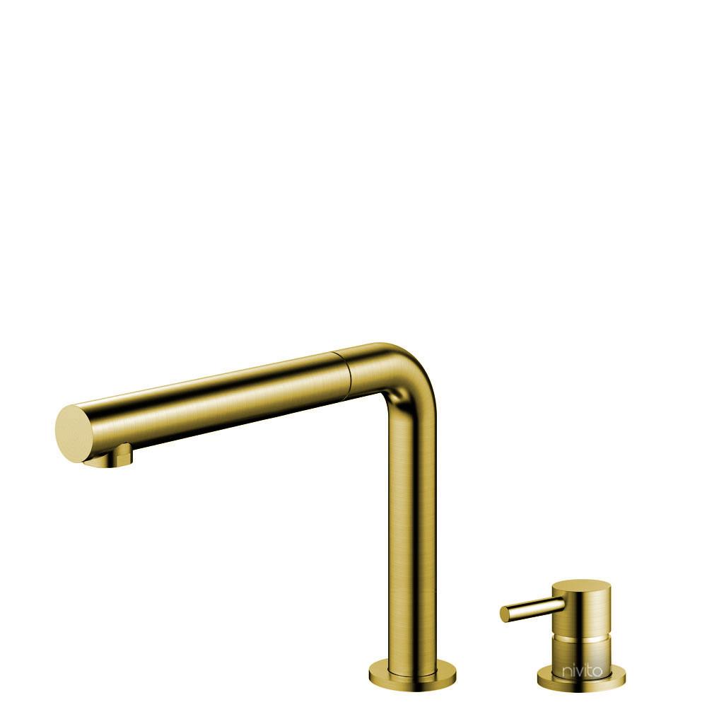 نحاس/ذهب حنفية المطبخ خرطوم السحب / الجسم المنفصل/ الأنابيب - Nivito RH-640-VI