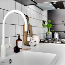 White mixer tap single lever mono tap
