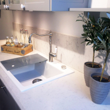 Brushed steel tapware