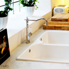 Polished steel mixer tap single lever mono tap