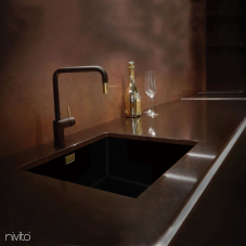 Black and gold brass mixer tap single lever mono
