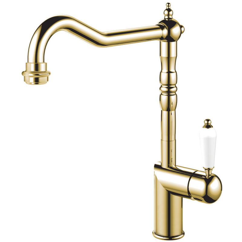 Brass/Gold Kitchen Mixer Tap - Nivito CL-160 White Porcelain Handle Color