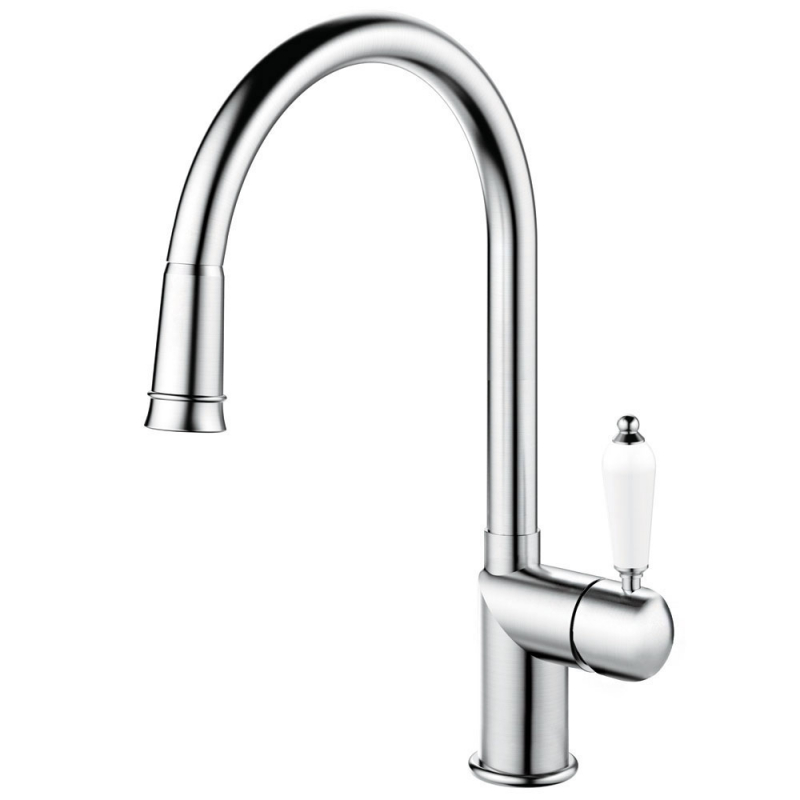 Stainless Steel Kitchen Mixer Tap Pullout hose - Nivito CL-200 White Porcelain Handle Color