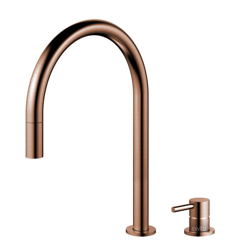 Copper Kitchen Mixer Tap Pullout hose / Seperated Body/Pipe - Nivito RH-150-VI