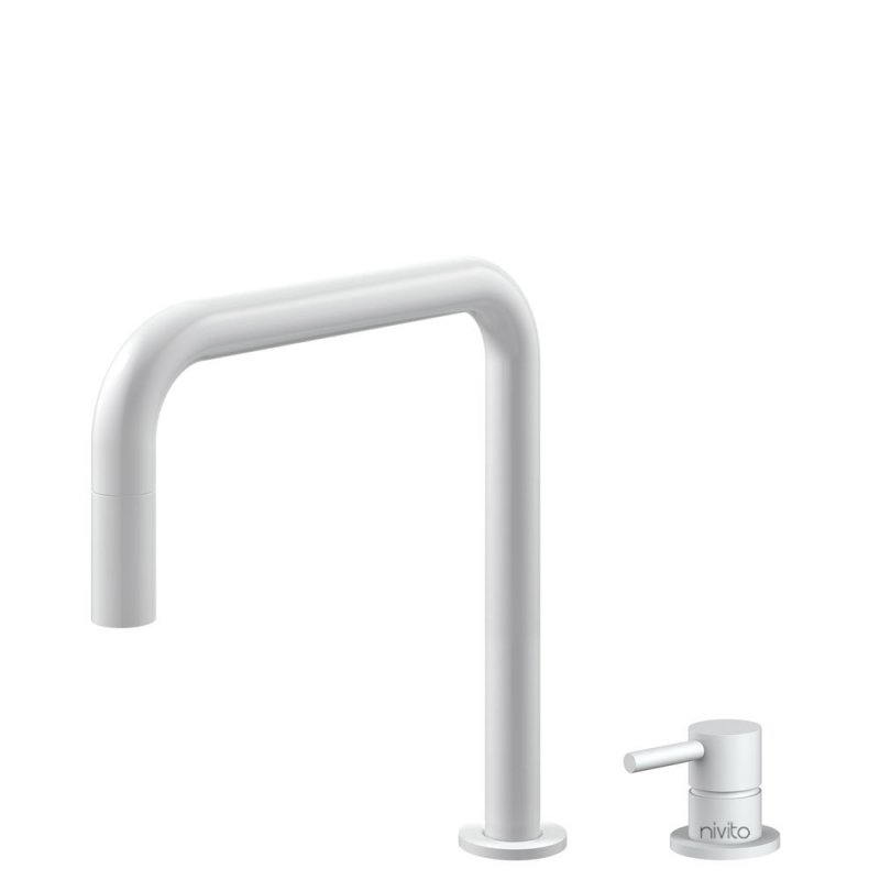 White Kitchen Mixer Tap Pullout hose / Seperated Body/Pipe - Nivito RH-330-VI