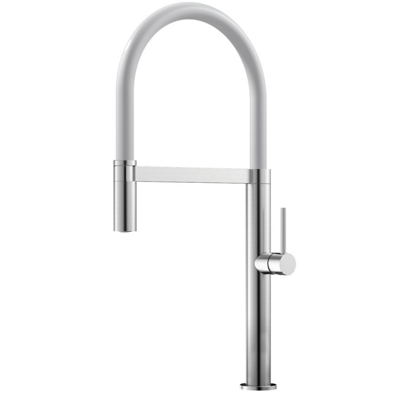 Stainless Steel Kitchen Mixer Tap Pullout hose / Brushed/White - Nivito SH-300
