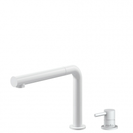 White Kitchen Tap Pullout hose / Seperated Body/Pipe - Nivito RH-630-VI